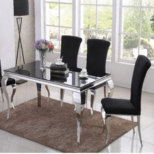 JP DT840 Dining table160cm (Black Glass) & JP CH250 Plush Velvet Black Chairs From Jesse plana